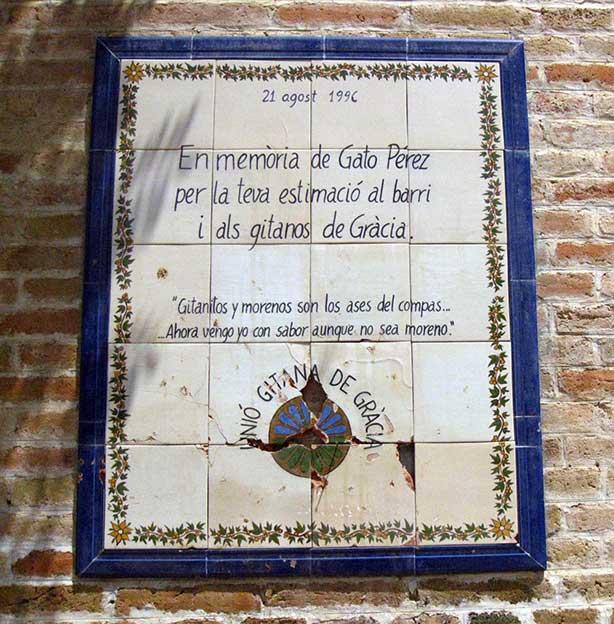Comemorative plaque for Gato Perez - History of Rumba Catalana