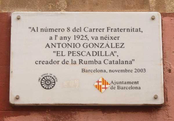 Commemorative plaque for El Pecadilla - History of Rumba Catalana